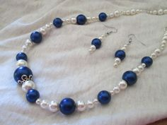 Blue and White Pearl Necklace and Earrings is going up for auction at  2pm Sun, Jun 2 with a starting bid of $5.