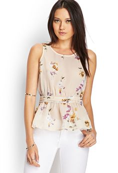 Floral Print Peplum Top | FOREVER21.