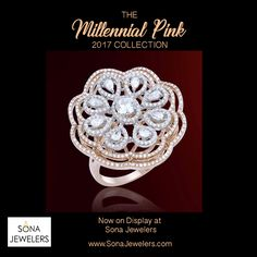 Rose Gold and Diamond ring. Exclusively by Sona Jewelers Big Diamond Rings, Pink Diamond Jewelry, Diamond Cluster Ring, Wedding Ring Bands, Beautiful Rings, Ring Designs, Bracelets, Rose Gold, Jewels