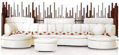 170 W oversize sectional sofa Italian white leather waxed exotic wood masterful