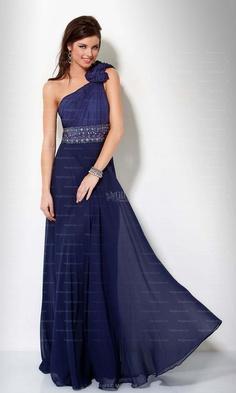 A-line One Shoulder Dark Navy Floral Diamond Chiffon Floor-length Evening Dress