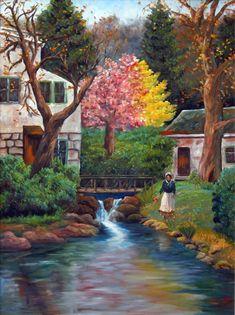 A 88 pieces jigsaw puzzle from Jigidi Mountain Landscape, Landscape Art, Landscape Paintings, Spring Painting, Love Painting, Pictures To Paint, Nature Pictures, Watercolor Print, Watercolor Paintings