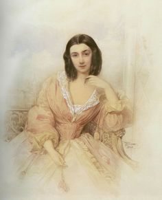 1841 Praskovia Arsen'evna Berteneva by Vladimir Ivanovich Hau (location unknown to gogm) Historical Fiction Authors, Historical Art, Historical Pictures, European Dress, Silhouette Painting, Pastel Watercolor, Classic Paintings, Plate Art, Detail Art