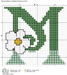 Two-tone Alphabet with Flower Cross Stitch Patterns alfabeto bicolore con fiore: M Cross Stitch Quotes, Cross Stitch Letters, Cross Stitch Boards, Simple Cross Stitch, Modern Cross Stitch, Cross Stitch Designs, Stitch Patterns, Cross Stitching, Cross Stitch Embroidery