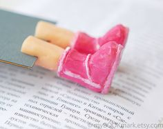 More cute, fun bookmarks...  Uggs in the book Pink bookmark Unusual winter by MyBookmark,