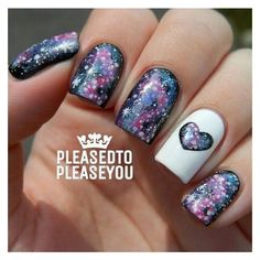 Galaxy Nails with Heart. | Nails | Pinterest ❤ liked on Polyvore featuring beauty products, nail care, nail treatments, nails and beauty