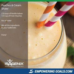 Magnificent Isagenix Drinks to tempt your taste buds! peaches-and-cream Lisa Stevenson will show you how to use your Isagenix Products to create amazing Isagenix shakes and other Isagenix recipes to tempt. Healthy Detox, Healthy Drinks, Healthy Eating, Easy Detox, Healthy Shakes, Isagenix Shakes, Protein Shake Recipes, Smoothie Recipes, Protein Smoothies
