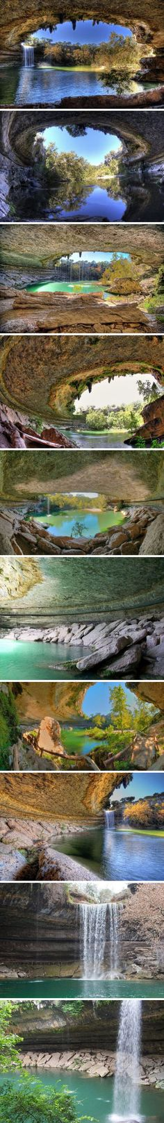 Hamilton Pool – a natural water basin formed about a thousand years ago as a result of the collapse of the tunnel arch, which flowed underground river.   located about 37 km from the U.S. city of Austin