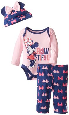 Disney Baby Girls' Bow-Tiful Minnie Mouse 3 Piece Set, Multi, 3 Months