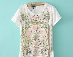 New European And American Style Retro Print With Rivet T Shirt [#1515]