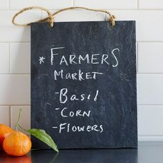 Leave all your important notes set in stone—no chisel required—with our Slate Message Board. Hang it from its jute rope in the kitchen or entryway and never miss a message.