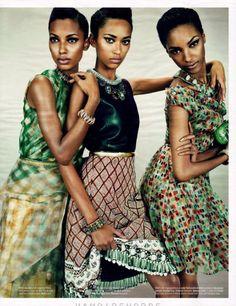 Jordan Dunn, Jasmin Tookes, and Anais Mali for W Magazine March 2012 Edition