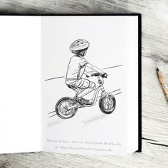 Pen and Ink drawing of a #little #boy on his #bycicle