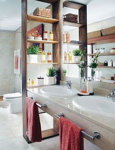 Modern Sink in Wet Room with Wooden Shelves Divider. This could work great for us, with a back on the shelves that backs up to a wall blocking the toilet. Then we could put toiletries on the shelves!