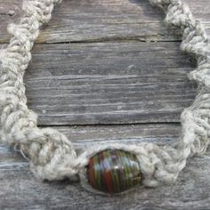 In The Woods Custom Jewelry & Crafts   Scott's Marketplace Rustic heavy hemp cord 23 inch  necklace with fired clay bead.