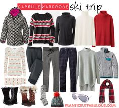 Capsule wardrobe: What to pack for a ski trip - Working mom style advice: Frantic But Fabulous Capsule Wardrobe Mom, Travel Wardrobe, Capsule Clothing, Ski Vacation, Vacation Outfits, Ski Trip Packing List, Ski Trips, Travel Packing, Ski Weekends