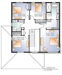 2nd level Large Modern House plan, 4 bedrooms, open floor plan layout, large pantry  - Pandora