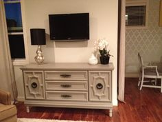 Furniture re-do:  add feet, paint & update hardware