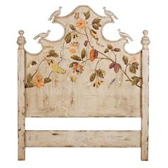 Garden Cottage Painted Headboard Whimsical hand-painted headboard with floral foilage artwork on a creamy offwhite distressed finish. This garden cottage style headboard is made from solid mahogany and includes hand-carved birds and curved accents. Floral Painted Furniture, Painted Bedroom Furniture, Cottage Furniture, Refurbished Furniture, Shabby Chic Furniture, Shabby Chic Decor, Rustic Furniture, Antique Furniture, Cream Furniture