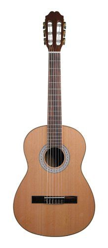Antonio Hermosa AHQ-10 Classical Guitar, Solid Cedar Top 3/4 Size. Solid Cedar Top. Mahogany Back & Sides. Maple Binding. Gold-Plated Tuners with Brown Pearloid Buttons. 3/4 Size.