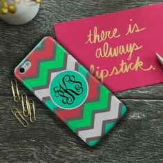 I used a multicolor chevron pattern for the background of this personalized phone case in pastel shades of pink, blue, green and white.    Your monogram will be placed in black on the matching blue circle.    ~~~~~~~~~~    Introducing our NEW premium monogrammed Iphone cases. These premium cases have an image that wraps around the sides and the top.    {...Ordering...}    • Include your name or initial(s) when you checkout so I can personalize this monogrammed Iphone case for you.    •There…