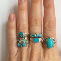 stacked rings turq