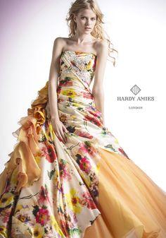 HARDY AMIES orange flower dress wedding ハーディエイミス ドレス ダラムゴールド ハーディエイミス | ブランド | ブライダルハウス六本木