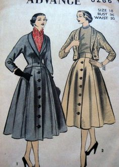 LOVELY VTG 1950s JACKET & SKIRT Sewing Pattern 18/36