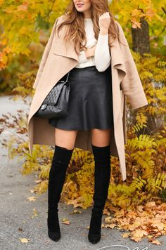 over the knee boots, black leather skirt and cream jumper with camel coat = perfect autumn  outfit