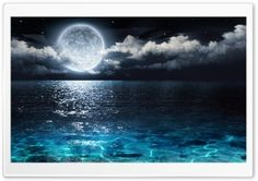 Moon and Ocean HD Wide Wallpaper for Widescreen