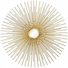 The Ren-Wil Phoenix Wall Mirror – 35 diam. The metal gold leafed starburst design was inspired. Chandeliers, Vases, Gold Wall Art, Art Deco Era, Round Mirrors, Simple House, Home Decor Outlet, Accent Pieces, Framed Artwork