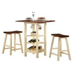 Entertain+your+guests+in+style+with+this+classic+bistro+set,+showcasing+a+solid+wood+frame+and+ample+storage+space+for+stemware,+wine+bottles,+and+dishes.