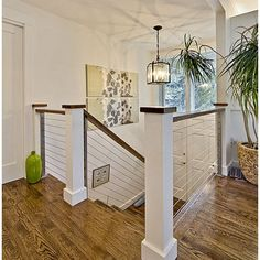 For Top of Stairs: Wood And Cable Railing Design Ideas, Pictures, Remodel, and Decor