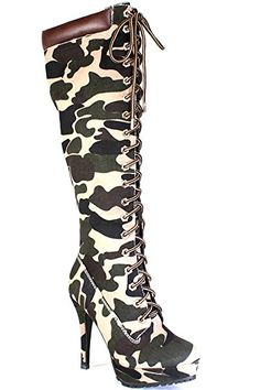 Camo suede knee high heel boots with front lace design,platform.Great for any occasion.