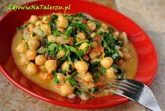 Cieciorka curry ze szpinakiem Simply Recipes, Black Eyed Peas, Healthy Recipes, Healthy Food, Beans, Tasty, Vegetables, Curry, Fit