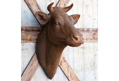 HUGE Wall Mount Cow Head - From Antiquefarmhouse.com - http://www.antiquefarmhouse.com/current-sale-events/farm-animals2/huge-wall-mount-cow-head.html