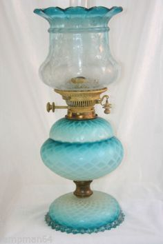 Stunning Victorian DQMP Blue Duplex Patent Oil Lamp Thomas Webb | eBay