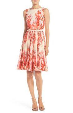 Floral Print Pleat Fit & Flare Dress