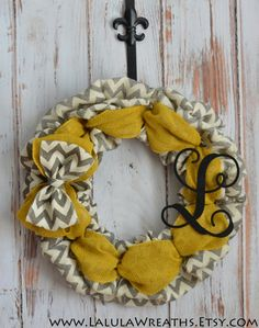 Burlap Monogram Wreath – Gray Chevron, Yellow Burlap, Front Door Decoration, Shabby Chic, Country Cottage, Home Décor, Monogrammed Wreath