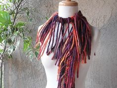 Luxury Statement Scarf Fringed Crocheted Scarves by sandeeknits, $41.99
