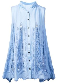 Blue Sleeveless Embroidery Hollow Blouse pictures
