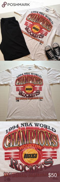 1994 NBA Houston Rockets Basketball T-shirt Official NBA Houston Rockets Vintage 1994 NBA World Champions Shirt. Excellent condition, very rare. Graphic in Rockets red & yellow colors. Adult size L.  *No trades or try on's. *Smoke free home. *Only the shirt is for sale, additional clothing & props are not included with purchase.  Please feel free to ask me any ?s & be sure to bundle all your likes for an AH-mazing deal!!! E106 Houston Rockets Shirts Tees - Short Sleeve