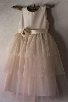 Very Vintage style Flower Girl Dress ... natural by OliveandFern
