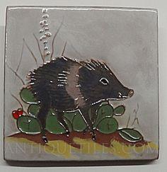 4 inch Javelina Gila Pottery McKusick Tile (Gila ~ McKusick ~ DHC ~ Tiles & Pottery) at Antique Tiles Antique Tiles, Making Out, Mosaic, Moose Art, Objects, Pottery, Ceramics, Stone, Antiques