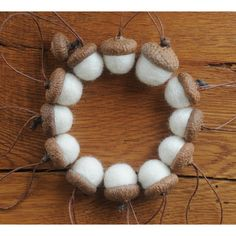 White Felted Acorns OR Acorn Ornaments ($12) ❤ liked on Polyvore featuring home, home decor, holiday decorations, acorn ornaments, white home accessories, white ornaments, felted ornaments and white home decor