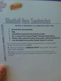 Meatball hero sandwhiches