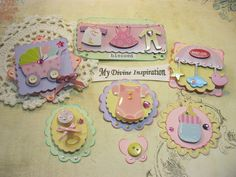 Baby Girl Paper Embellishments Scrapbook by mydivineinspiration, $4.99