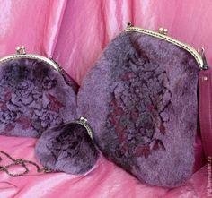 """Комплект """"Fur Rose"""" сумка, кожа, фермуар. - бордовый,однотонный,сливовый"""