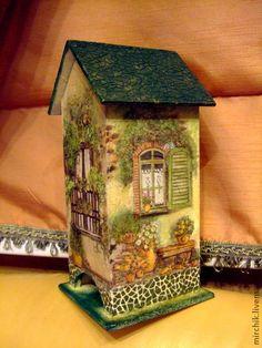 чайный домик Clay Houses, Box Houses, Fairy Houses, Tole Decorative Paintings, Tole Painting, Painting On Wood, Bird Houses Painted, Painted Boxes, Clay Fairy House