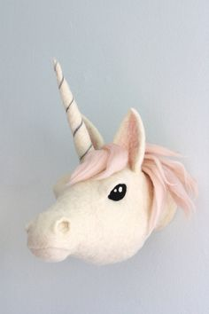 This Unicorn Wall Mount Faux Taxidermy Dusty Pink Mane Unicorn is just one of the custom, handmade pieces you'll find in our wall hangings shops.Magic, in the form of needle felting. Unicorn Head Wall Mount, Unicorn Wall, Wet Felting, Needle Felting, Unicorn Rooms, Faux Taxidermy, Felt Animals, Baby Animals, Animal Heads